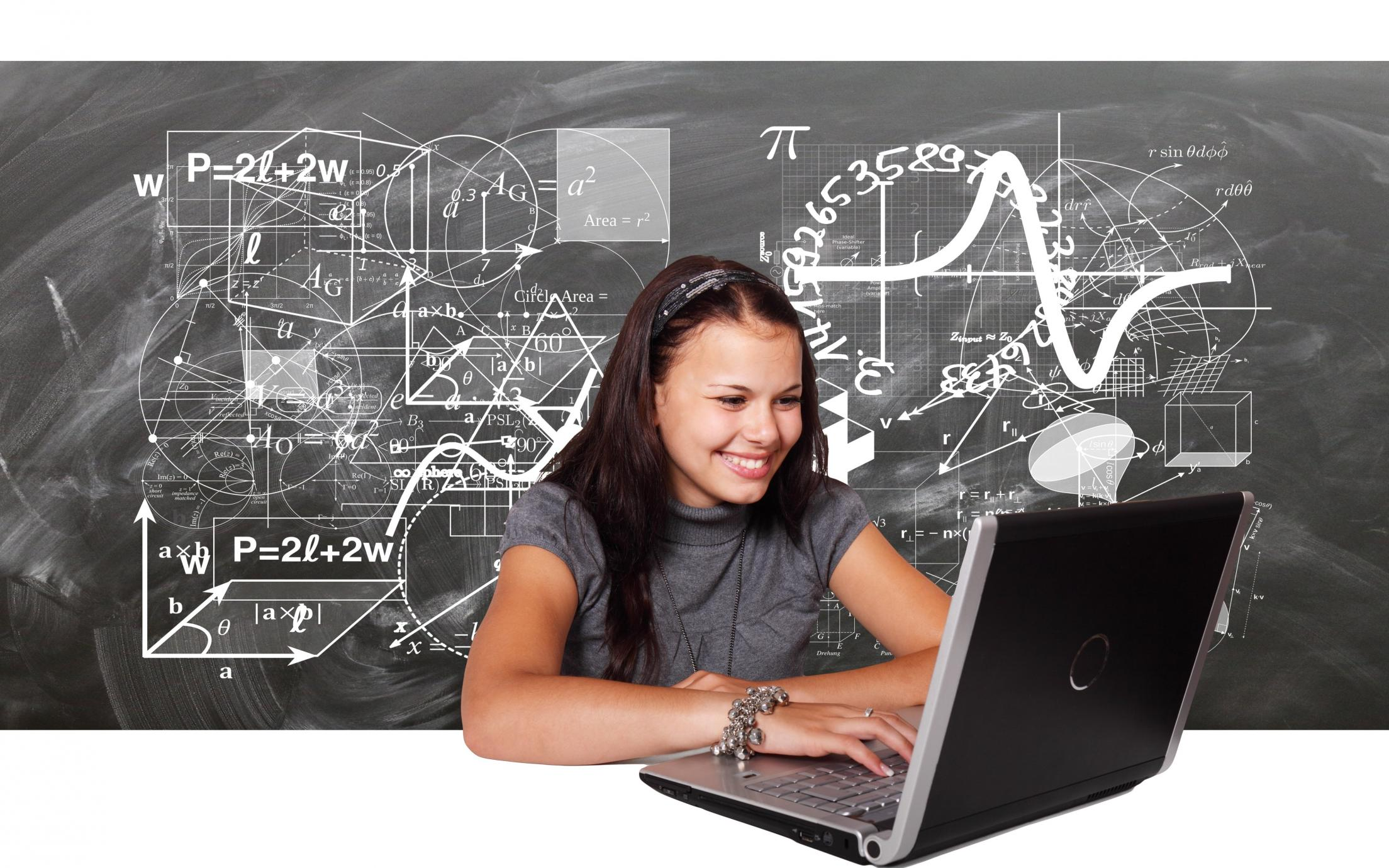 Female student engaging with research