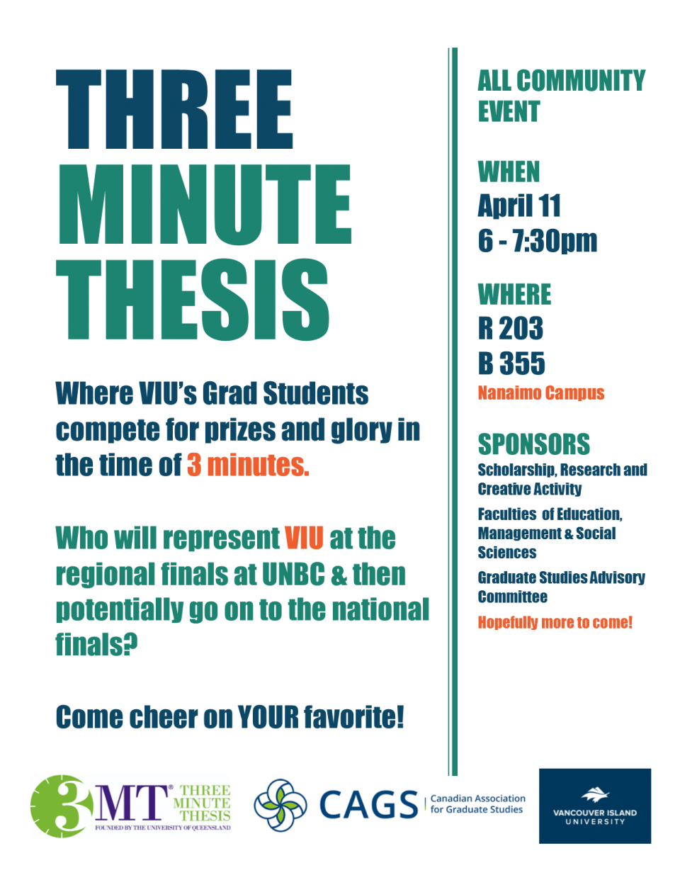 Info poster on VIU's Three Minute Thesis competition